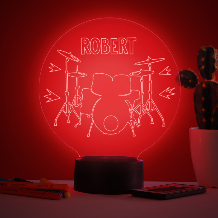 Personalised Drum Kit Night Light, Colour Changing Lamp For Kids Bedroom