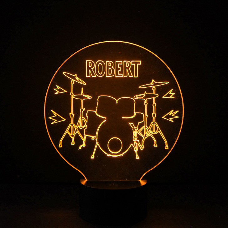 Drum Kit Kids Bedroom Personalised LED Night Light