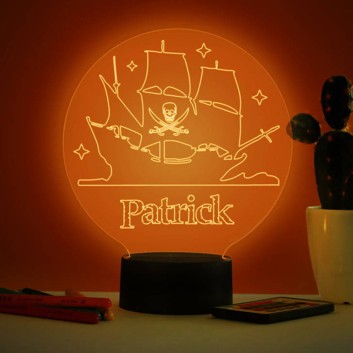 Personalised Pirate Ship Night Light, Colour Changing Pirates Lamp For Kids Bedroom