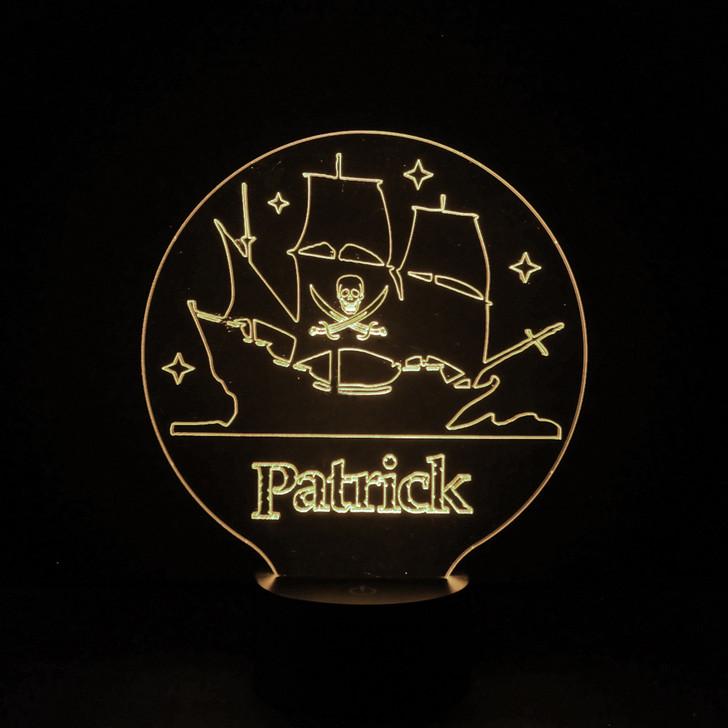 Pirate Ship Kids Bedroom Personalised LED Night Light