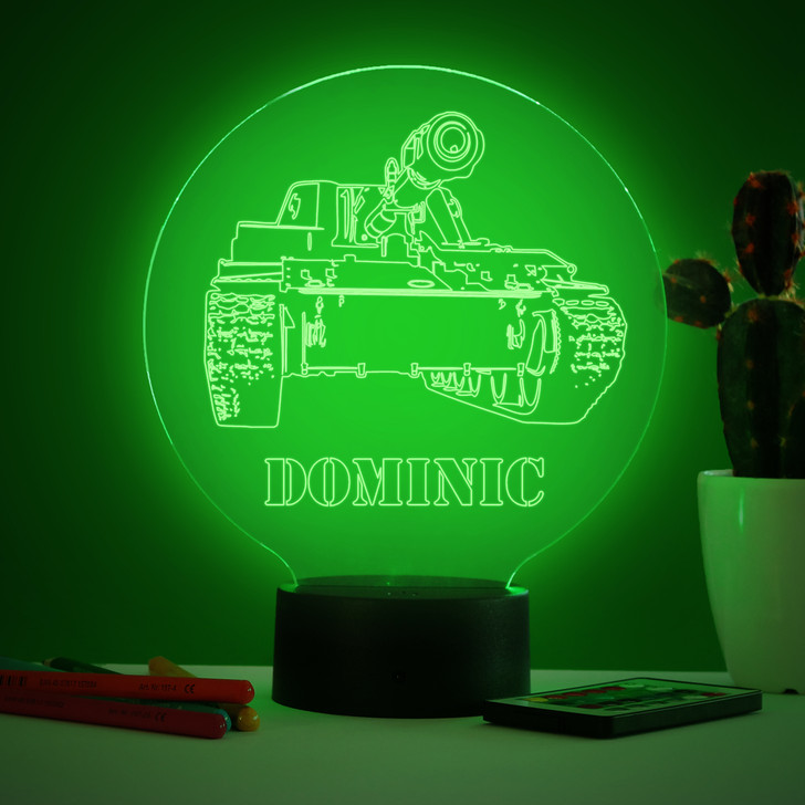 Personalised Tank Night Light, Colour Changing Army Tank Lamp For Kids Bedroom