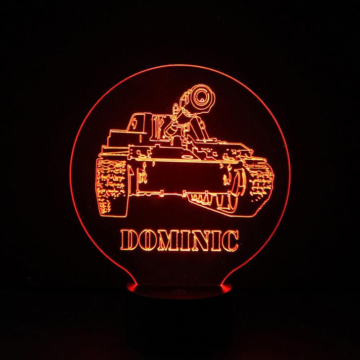 Army Tank Kids Bedroom Personalised LED Night Light