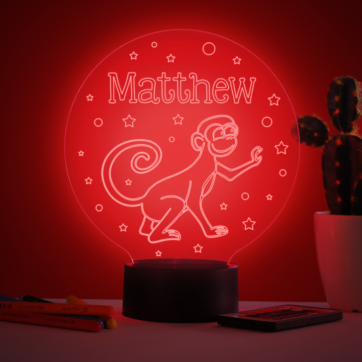 Personalised Monkey Night Light, Colour Changing Lamp For Kids Bedroom