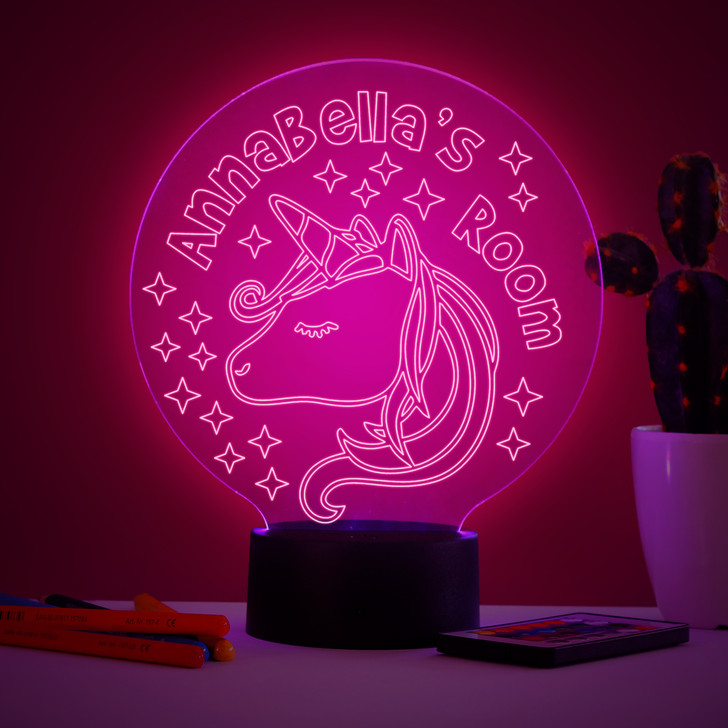 Personalised Magical Unicorn Night Light, Colour Changing Girls Lamp For Kids Bedroom
