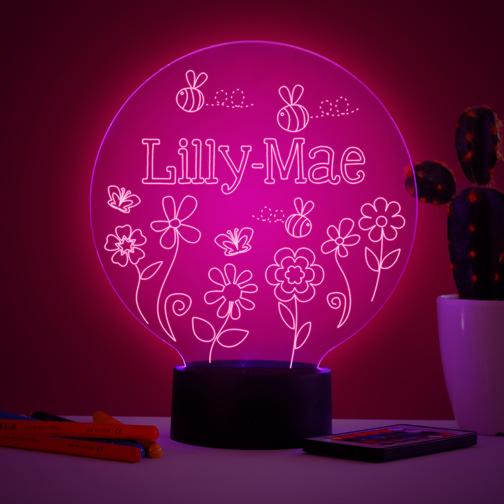 Personalised Bees & Flowers Night Light, Colour Changing Girls Lamp For Kids Bedroom