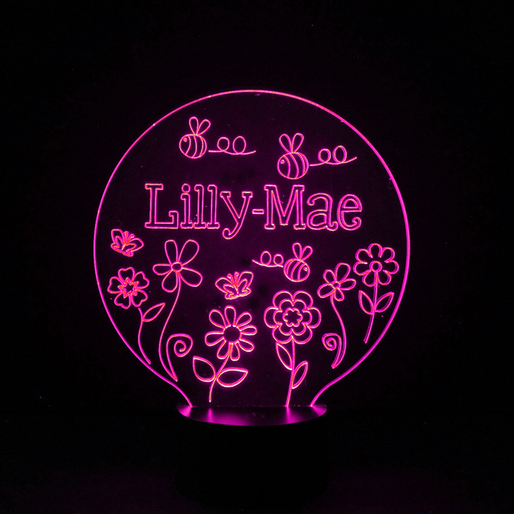 Flowers & Bees Kids Bedroom Personalised LED Night Light