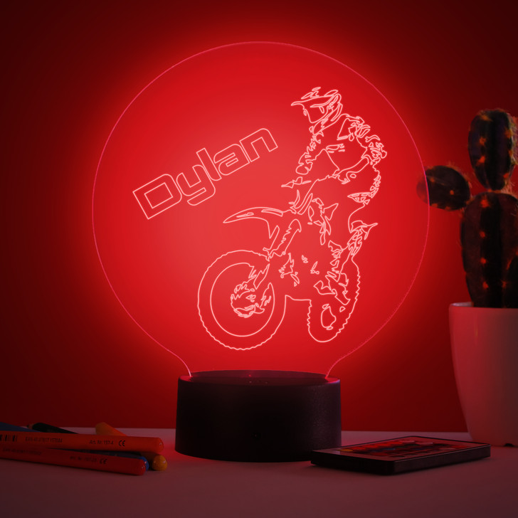 Personalised Off Road Motorbike Night Light, Colour Changing Biking Lamp For Kids Bedroom