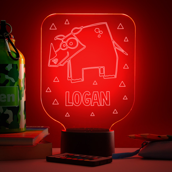 Personalised Rhino Night Light, Colour Changing Lamp For Kids Bedroom