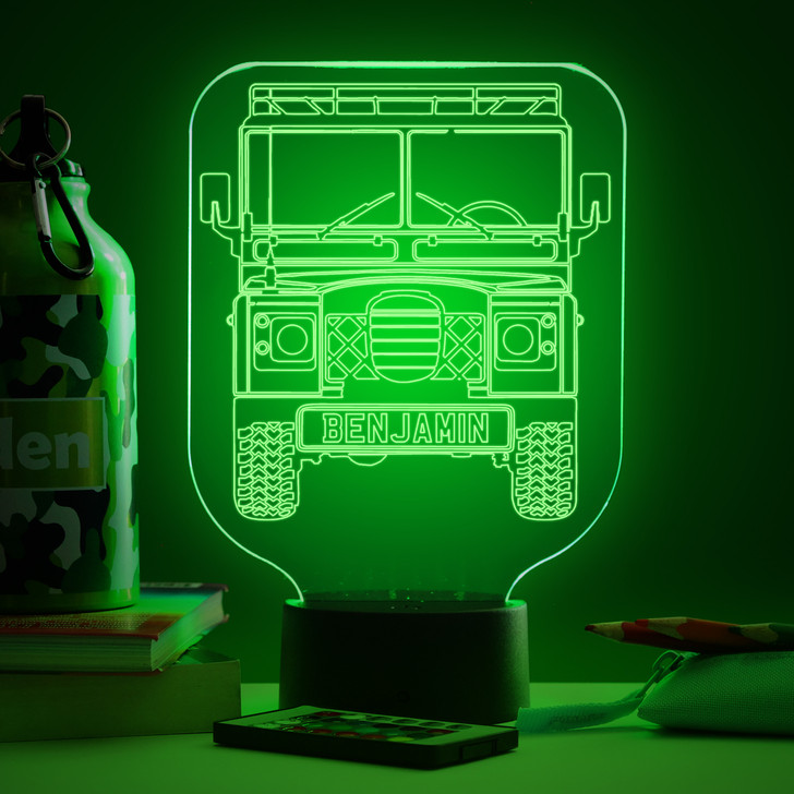 Personalised Land Rover Defender Night Light, Colour Changing Lamp For Kids Bedroom