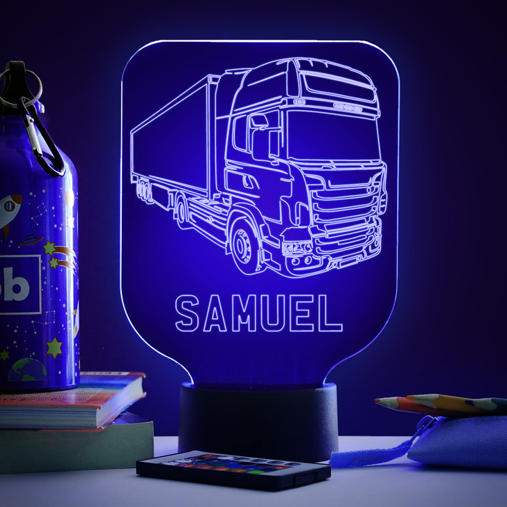 Personalised Truck Lorry  Night Light, Colour Changing  Lamp For Kids Bedroom, Truckers