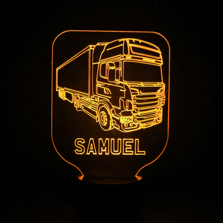 Truck Lorry Kids Bedroom Personalised LED Night Light