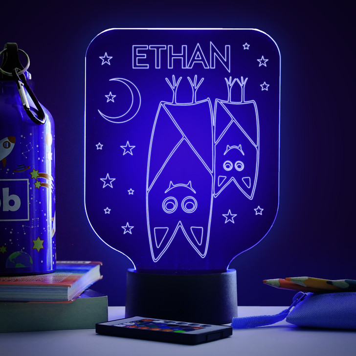 Personalised Bats Night Light, Colour Changing Lamp For Kids Bedroom