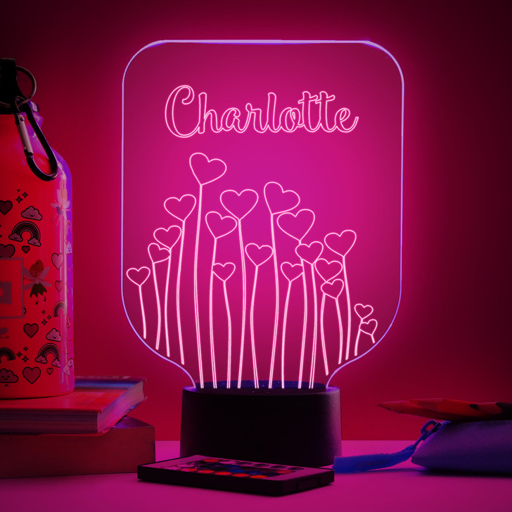 Personalised Heart Flowers Night Light, Colour Changing Girls Lamp For Kids Bedroom