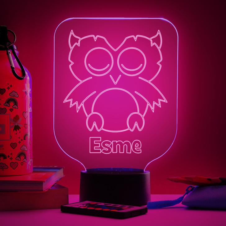 Personalised Owl Night Light, Colour Changing Lamp For Kids Bedroom