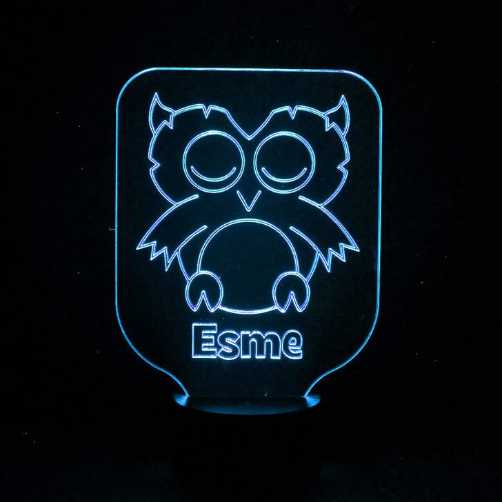 Owl Kids Bedroom Personalised LED Night Light