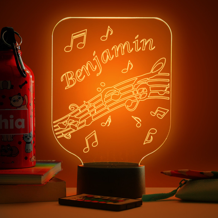 Personalised Musical Notes Night Light, Colour Changing Lamp For Kids Bedroom