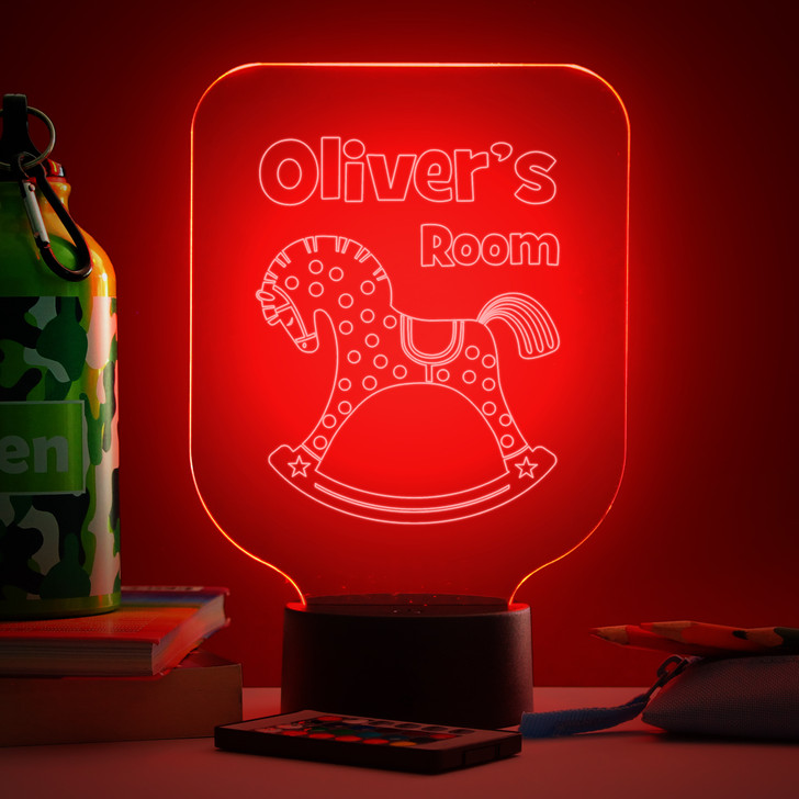 Personalised Rocking Horse Night Light, Colour Changing Lamp For Kids Bedroom