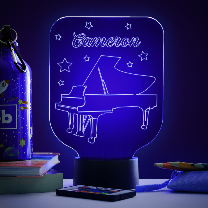 Personalised Piano Night Light, Colour Changing Musical Instrument Lamp For Kids Bedroom