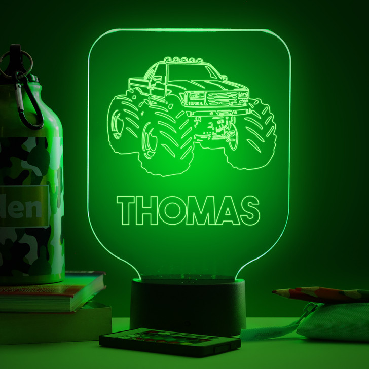 Personalised Monster Truck Night Light, Colour Changing Lamp For Kids Bedroom