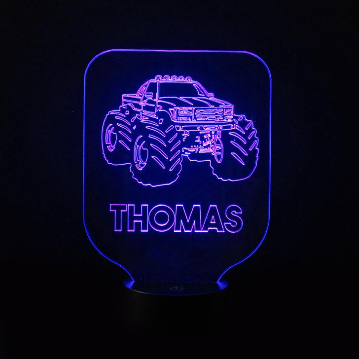 Monster Truck Kids Bedroom Personalised LED Night Light