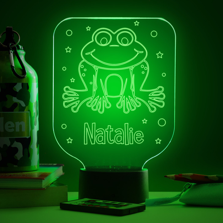 Personalised Frog Night Light, Colour Changing Lamp For Kids Bedroom