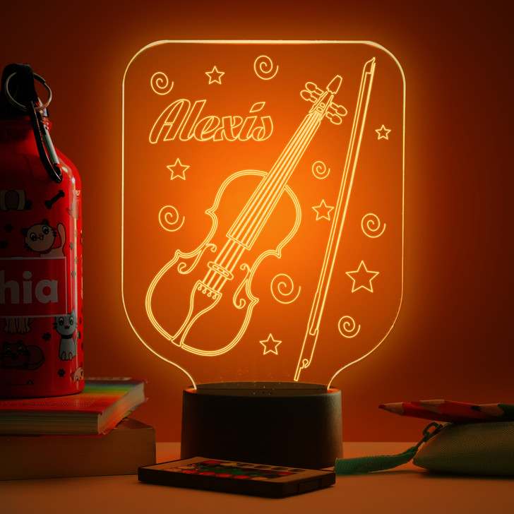 Personalised Violin Night Light, Colour Changing Musical Instrument Lamp For Kids Bedroom