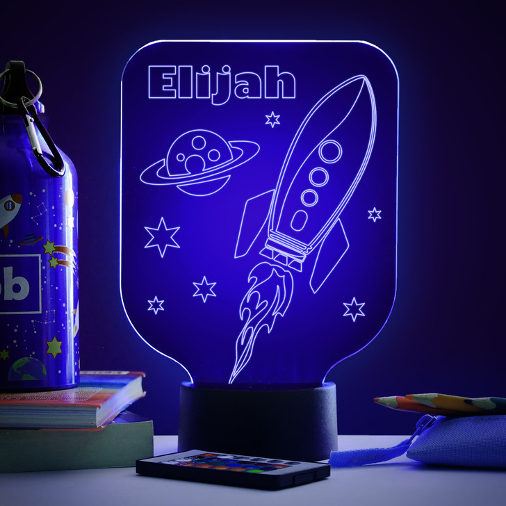 Personalised Space Rocket Night Light, Colour Changing Astronaut Spaceship Lamp For Kids Bedroom
