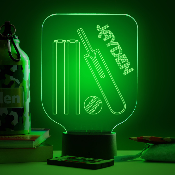 Personalised Cricket Night Light, Colour Changing Lamp For Kids Bedroom