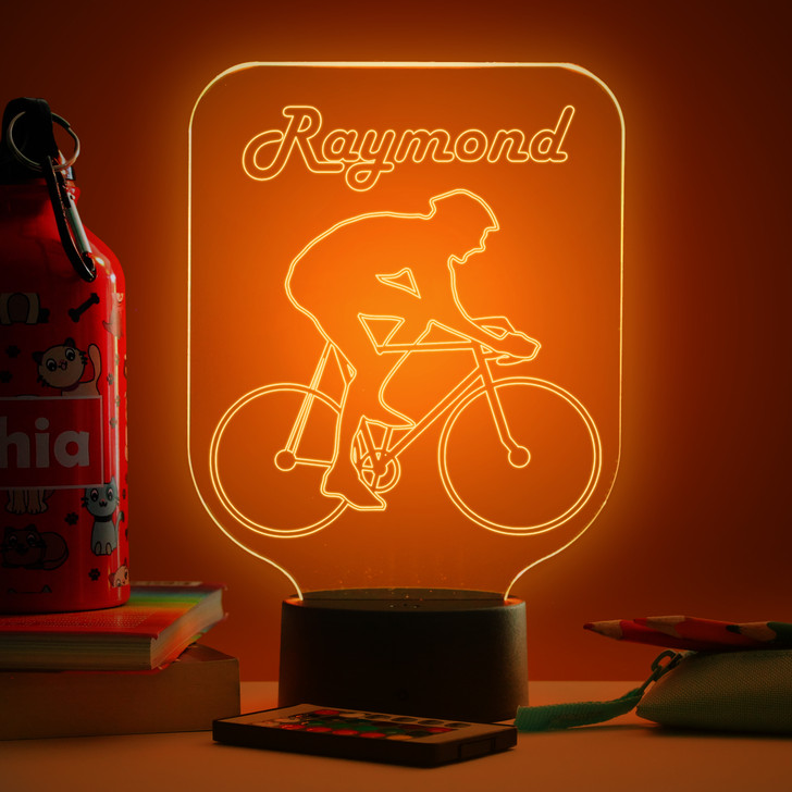 Personalised Cycling Night Light, Colour Changing Lamp For Kids Bedroom