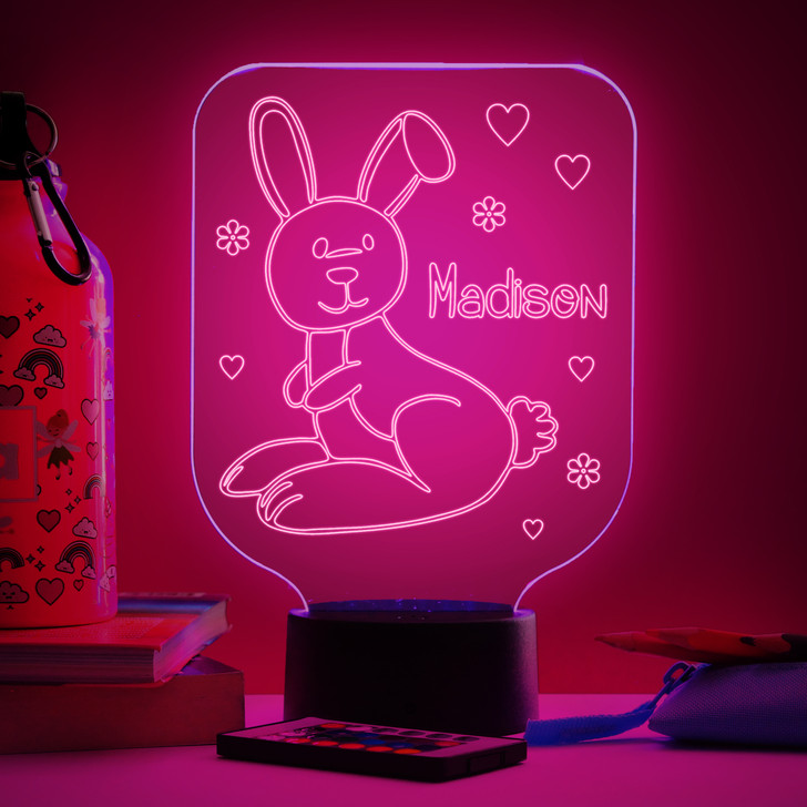 Personalised Bunny Rabbit Night Light, Colour Changing Lamp For Kids Bedroom