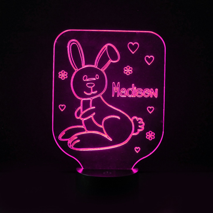 Bunny Rabbit Kids Bedroom Personalised LED Night Light