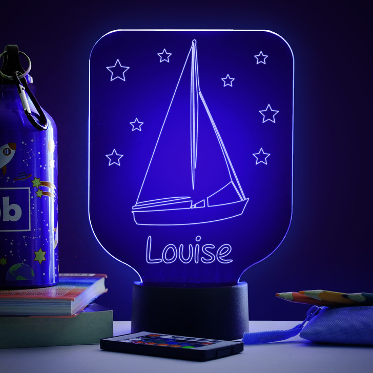 Personalised Sailing Boat Night Light, Colour Changing Lamp For Kids Bedroom