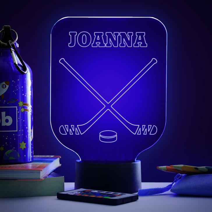 Personalised Ice Hocky Night Light, Colour Changing Lamp For Kids Bedroom