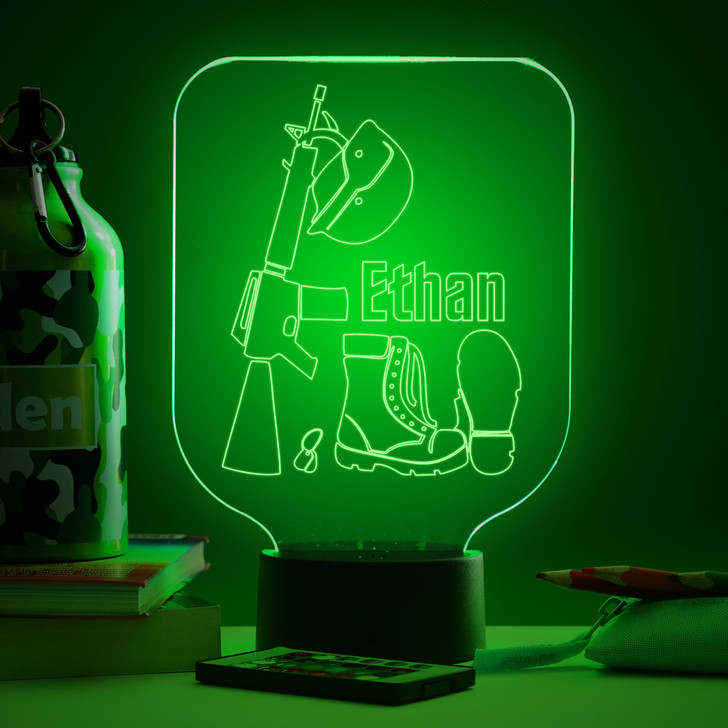 Personalised Army Gear Night Light, Colour Changing Lamp For Kids Bedroom
