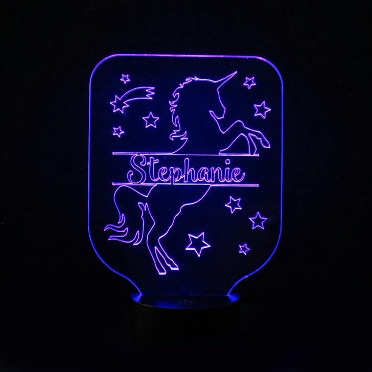 Prancing Unicorn Kids Bedroom Personalised LED Night Light