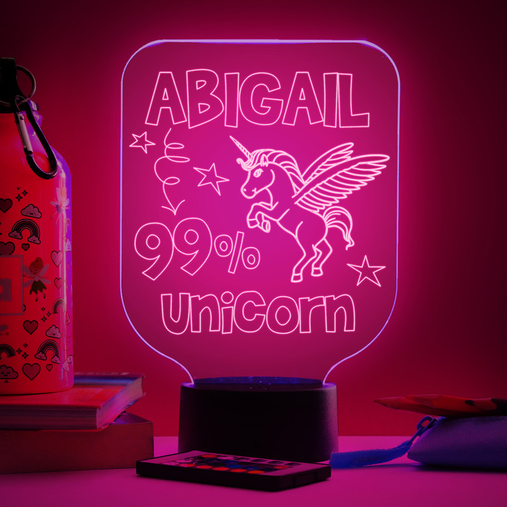 Personalised 99% Unicorn Night Light, Colour Changing Girls Lamp For Kids Bedroom