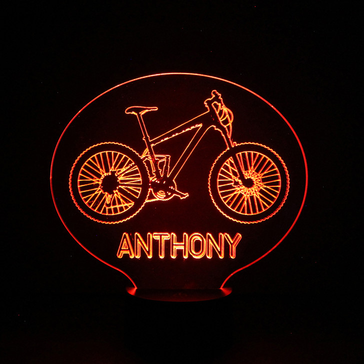 Personalised Mountain Bike Night Light, Colour Changing Lamp For Kids Bedroom