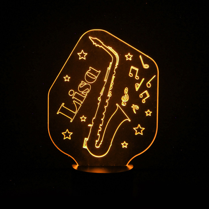 Personalised Saxophone Night Light, Colour Changing Musical Instrument Lamp For Kids Bedroom
