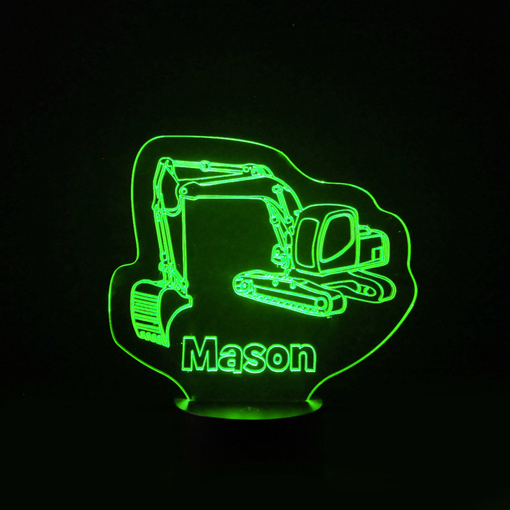 Personalised Digger Excavator Night Light, Colour Changing Lamp For Kids Bedroom