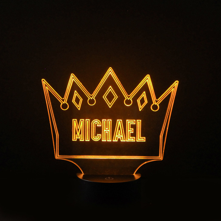 Personalised Princes Crown Night Light, Colour Changing Boys Lamp For Kids Bedroom