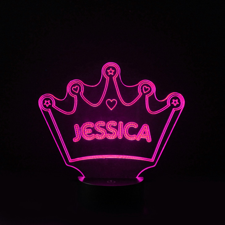 Personalised Princess Crown Night Light, Colour Changing Girls Lamp For Kids Bedroom