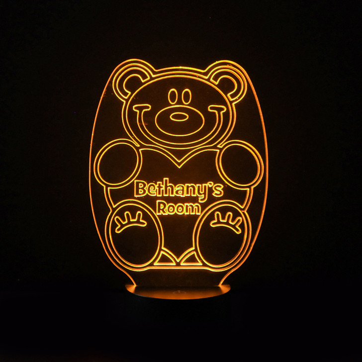 Personalised Teddy Bear Night Light, Colour Changing Lamp For Kids Bedroom