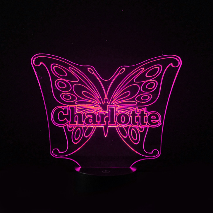 Personalised Butterfly Night Light, Colour Changing Girls Lamp For Kids Bedroom