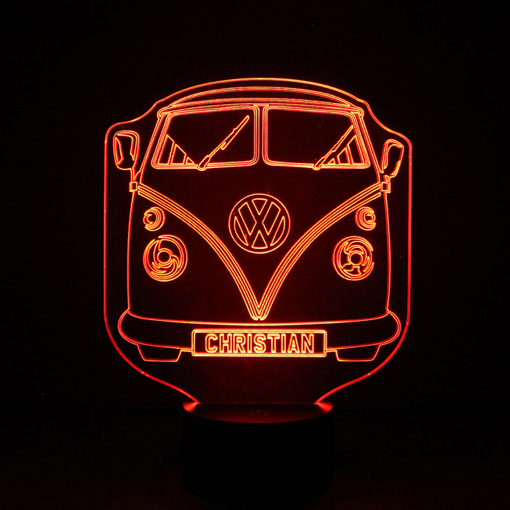 Personalised VW Campervan Night Light, Colour Changing Lamp For Kids Bedroom