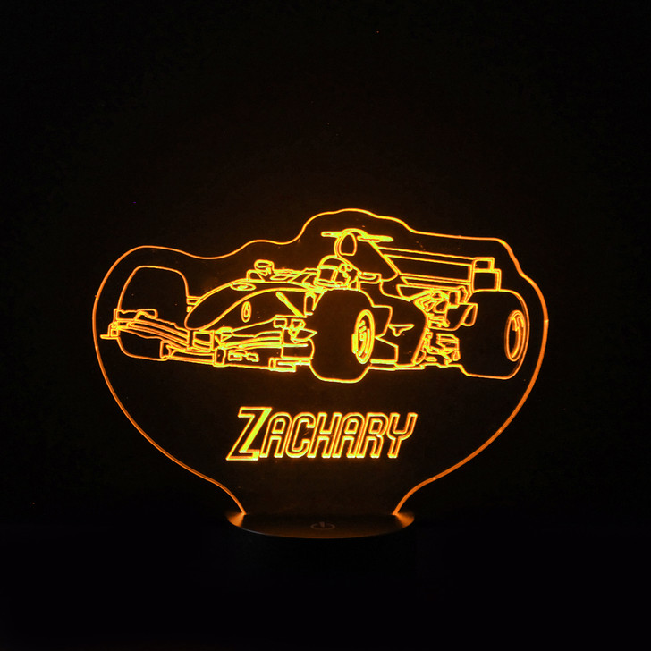 Personalised F1 Racing Car Night Light, Colour Changing Lamp For Kids Bedroom