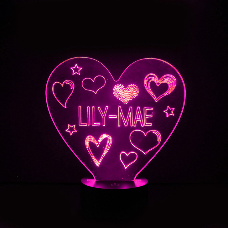 Personalised Hearts Night Light, Colour Changing Girls Lamp For Kids Bedroom