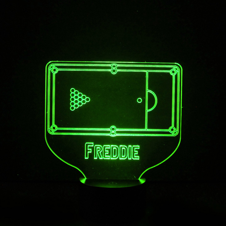 Personalised Pool Table Night Light, Colour Changing Lamp For Kids Bedroom