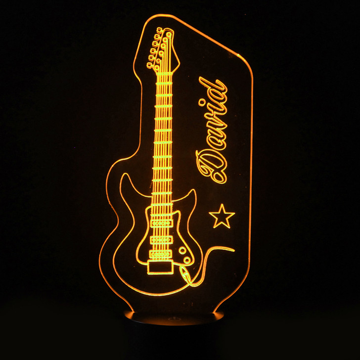 Personalised Guitar Night Light, Colour Changing Lamp For Kids Bedroom