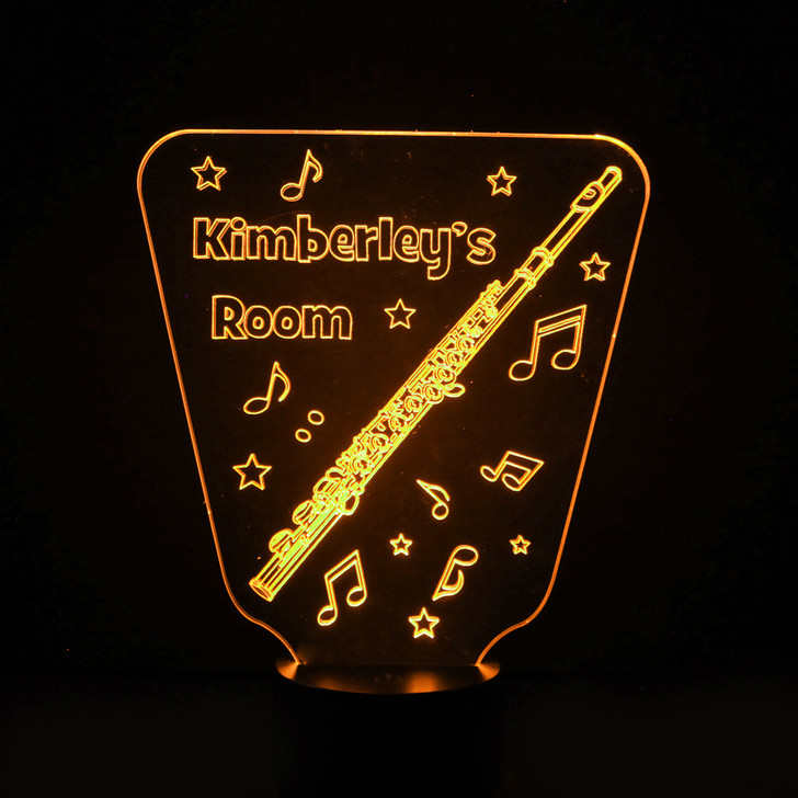 Personalised Flute Night Light, Colour Changing Instrument Lamp For Kids Bedroom