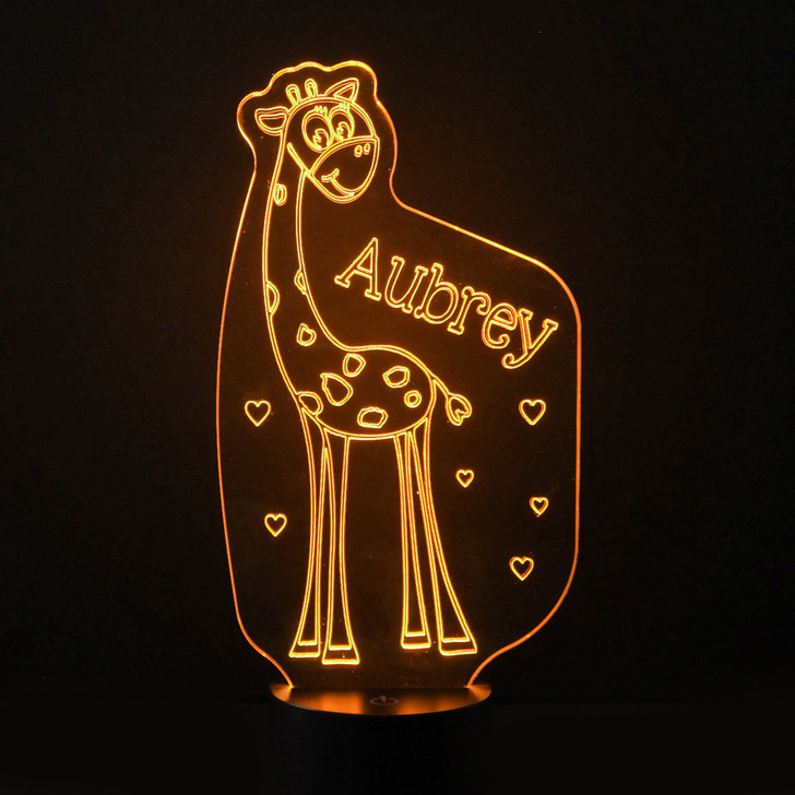 Personalised Giraffe Night Light, Colour Changing Lamp For Kids Bedroom